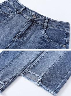 High Waisted Denim Fringed Flare Pants