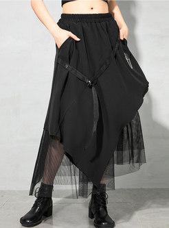 High Waisted Mesh Patchwork Long Skirt