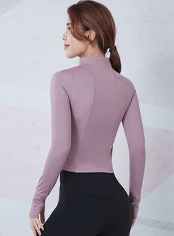 Solid Mock Neck Zipper Front Tight Fitness Top