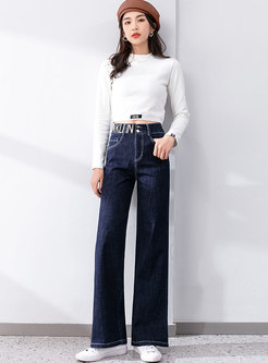 Letter Print High Waisted Wide Leg Jeans