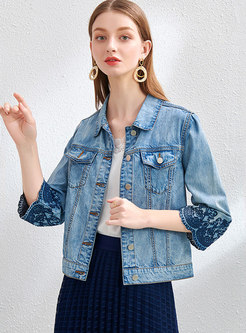 Embroidered 3/4 Sleeve Short Denim Jacket