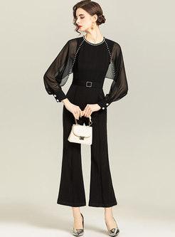 Black Mesh Sleeve Beaded Belted Flare Jumpsuits
