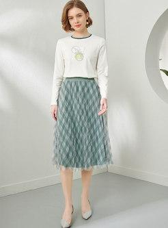 High Waisted Plaid A Line Mesh Maxi Skirt