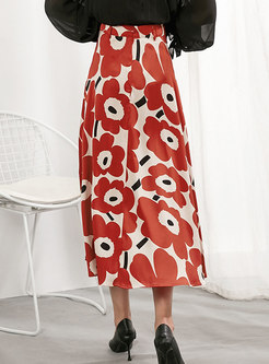 High Waisted Print A Line Long Skirt