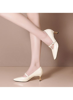 Square Toe Low-fronted Buckle Heels