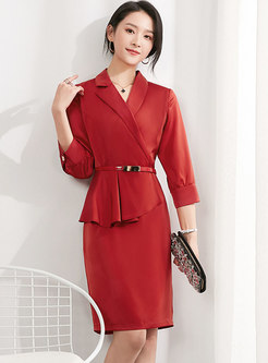 3/4 Sleeve Ruffle Patchwork Belted Office Dress