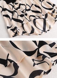 Letter Print Patchwork Slim Pant Suits