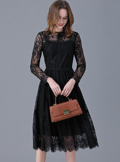 Plus Size Lace Openwork A Line Midi Dress