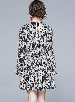 Crew Neck Puff Sleeve Leopard Print Skater Dress