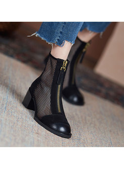 Rounded Toe Patchwork Openwork Chunky Heel Boots