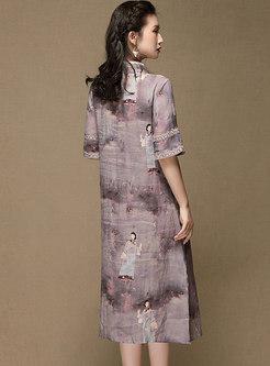 Retro Mandarin Collar Ramie Print Shift Dress