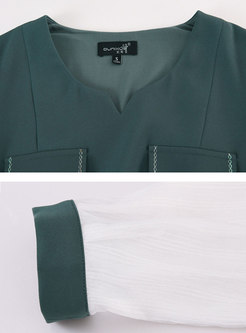 Color-blocked Patchwork V-neck Chiffon Skater Dress