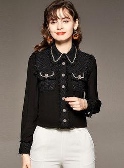 Lapel Weave Tweed Patchwork Silk Blouse