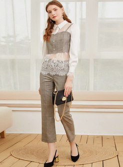 Transparent Lace Patchwork Plaid Blouse