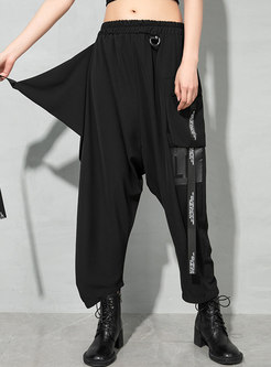 Casual High Waisted Ribbon Harem Pants