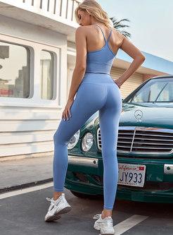 V-neck Shockproof Sport Bra & Tight Yoga Pants