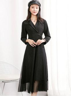 Notched Patchwork Mesh A Line Midi Dress