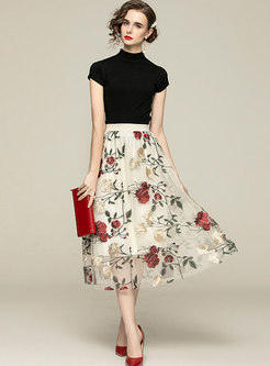 Mock Neck Knit Top & Mesh Embroidered Long Skirt