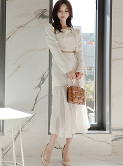 Square Neck Double-breasted Ruffle Skirt Suits