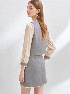 Plaid Patchwork Long Sleeve Mini Skirt Suits