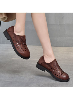 Rounded Toe Openwork Non-slip Loafers