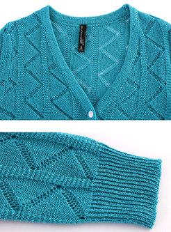 V-neck Long Sleeve Openwork Short Cardigan