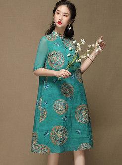 Mandarin Collar Half Sleeve Print Shift Dress