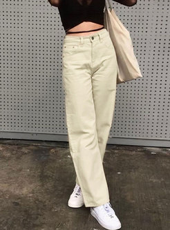 Casual Solid High Waisted Straight Pants