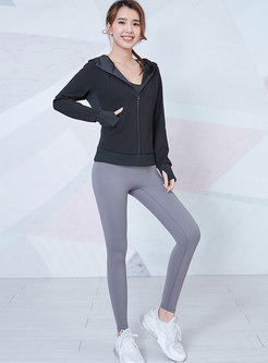 Hooded Long Sleeve Fitness Jacket With Thumb Hole
