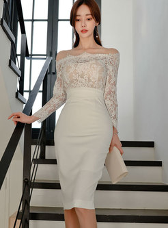 Off-the-shoulder Lace Patchwork Bodycon Dress