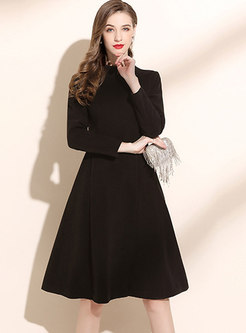 Mock Neck Long Sleeve Knee-length Skater Dress