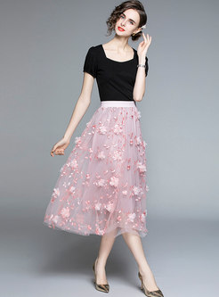 Square Neck Puff Sleeve T-shirt & Mesh Long Skirt