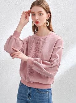 Casual Lace Beaded Patchwork Pullover Sweatshirt