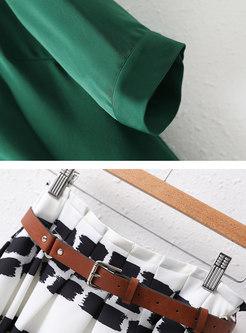 Half Sleeve Blouse & Print Pleated Midi Skirt