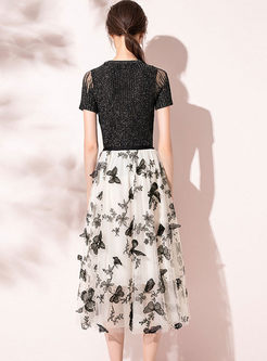 Crew Neck Pullover Knitted Top & Mesh Print Skirt