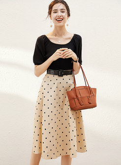 Puff Sleeve Knit Top & Polka Dot A Line Skirt
