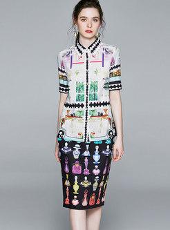 Elegant Print Lapel Bodycon Skirt Suits