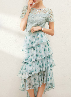 Lace Openwork Top & Print Long Cake Skirt