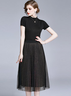 Stand Collar Knit Top & High Waisted Pleated Skirt