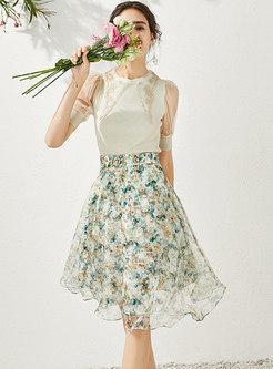 Mesh Patchwork Knit Top & Floral A-line Skirt