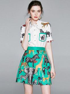 Animal Pattern Lapel Bodycon Suit Dress