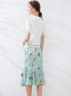 Polo Collar Knit Top & Floral Peplum Skirt