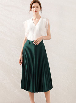 Mesh Patchwork Knit Top & Pleated Skirt