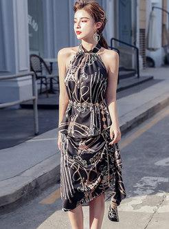 Halter Neck Print High Waisted Skirt Suits