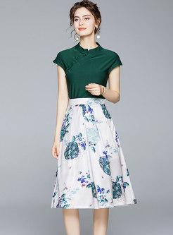 Retro Mandarin Collar Print A Line Skirt Suits