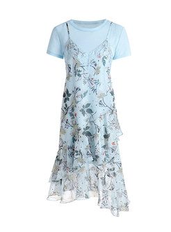 Crew Neck Pullover Floral Chiffon Two Piece Dress