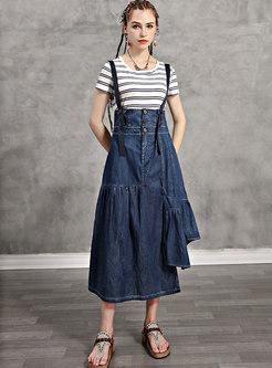 Striped Pullover Slim T-shirt & Denim A Line Skirt
