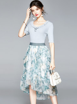 Crew Neck Knit Slim Top & Print Chiffon Skirt