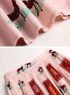 Lapel Print High Waisted Pleated Mini Skirt Suits