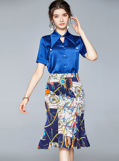 Lapel Stain Slim Shirt & Print Sheath Skirt